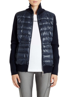 Moncler Quilted Down & Wool Short Cardigan