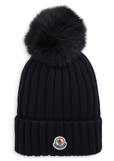 Moncler Rib Virgin Wool Beanie with Genuine Fox Fur Pom