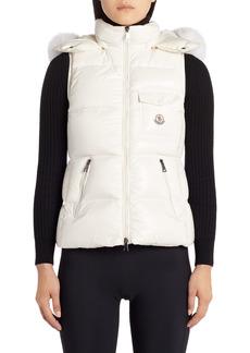 Women's Moncler Balabio Water Resistant Down Puffer Vest With Removable Genuine Fox Fur Trim Hood