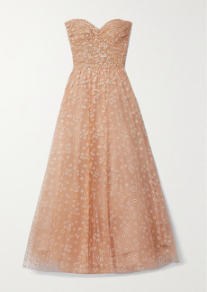 Monique Lhuillier Daisy Strapless Glittered Tulle Gown