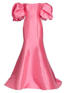 Monique Lhuillier Mermaid Puff-Sleeve Mikado Gown