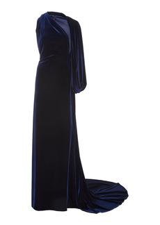 Monique Lhuillier - Women's One-Shoulder Stretch-Velvet Gown - Blue - Moda Operandi