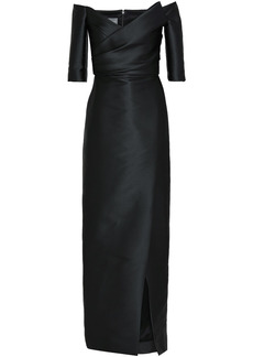 Monique Lhuillier Woman Off-the-shoulder Ruched Satin Gown Black