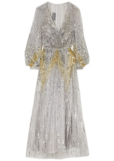 Monique Lhuillier Woman Sequined Tulle Gown Silver
