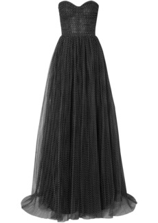 Monique Lhuillier Woman Strapless Ruched Swiss-dot Tulle Gown Black