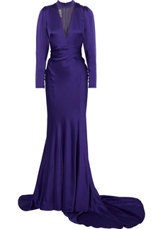 Monique Lhuillier Woman Tulle-paneled Satin Gown Dark Purple