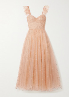 Monique Lhuillier Ruffled Gathered Glittered Tulle Gown