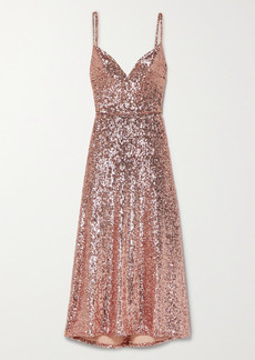 Monique Lhuillier Sequined Stretch-tulle Midi Dress