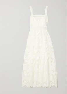 Monique Lhuillier Tiered Guipure Lace Maxi Dress
