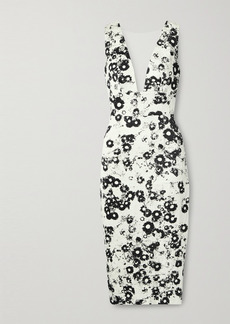Monique Lhuillier Tulle-trimmed Floral-print Cotton-blend Jacquard Midi Dress
