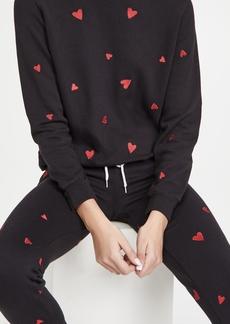 MONROW All Over Embroidered Heart Boyfriend Sweatshirt
