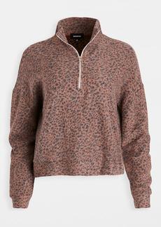 MONROW Mini Leopard Half Zip Sweatshirt