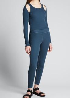 Monrow Rib-Cuff Slim-Leg Sweatpants