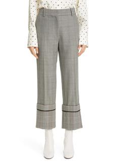 Monse Cuff Hem Plaid Straight Leg Wool Blend Pants