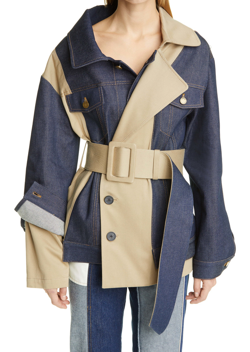 Monse Asymmetrical Belted Denim Trench Jacket