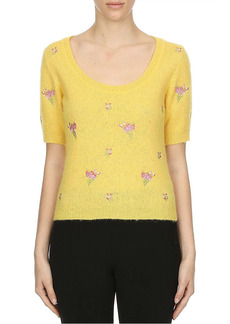 Moschino Flowers Of Versailles Alpaca & Wool-Blend Short-Sleeve Knit Sweater