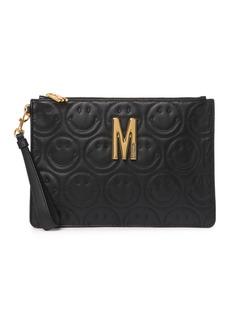 Moschino Logo Smiley Leather Wristlet Clutch