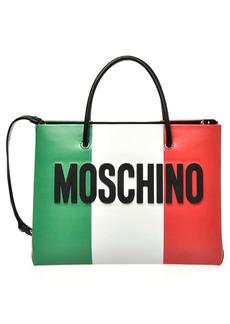 Moschino Italian Slogan Leather Tote