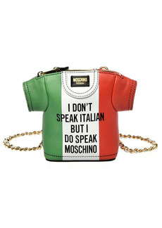 Moschino Italian Slogan T-Shirt Leather Shoulder Bag