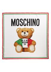 Moschino Logo Bear Square Silk Scarf