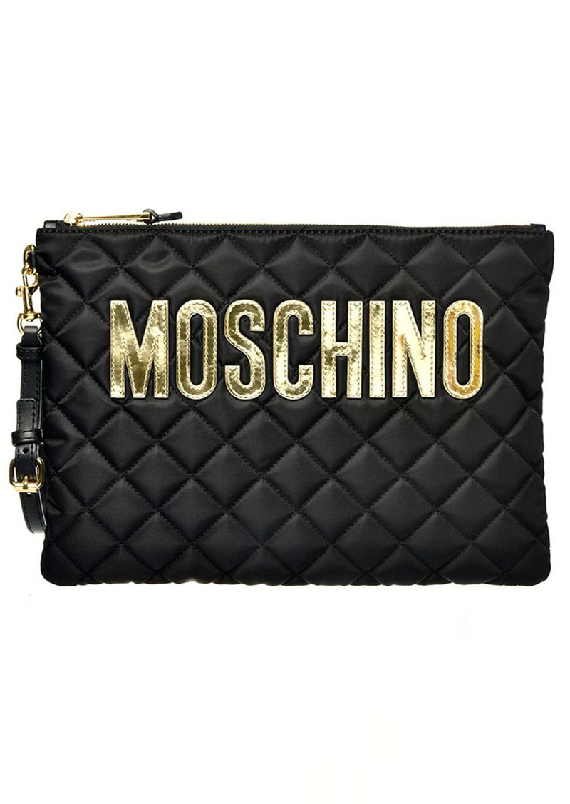 Moschino Logo Quilted Nylon Clutch