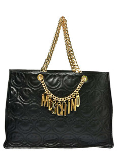 Moschino Logo Smiley Face Quilted Leather Tote
