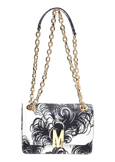 Moschino M Feather Print Leather Shoulder Bag