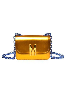 Moschino M Metallic Leather Shoulder Bag