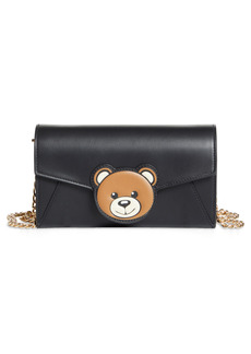 Moschino Teddy Flap Leather Wallet on a Chain