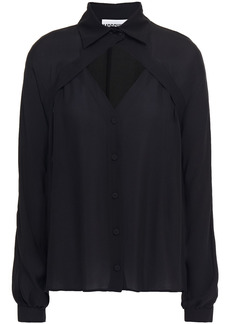 Moschino Woman Cutout Silk-crepe Shirt Black