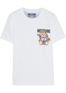 Moschino Woman Distressed Printed Cotton-jersey T-shirt White