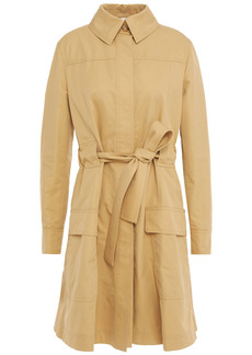 Moschino Woman Embellished Cotton-blend Gabardine Trench Coat Beige