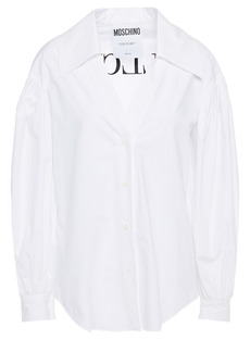 Moschino Woman Embroidered Cotton-blend Poplin Shirt White