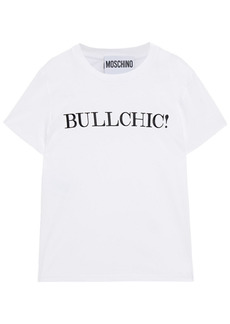 Moschino Woman Embroidered Cotton-jersey T-shirt White