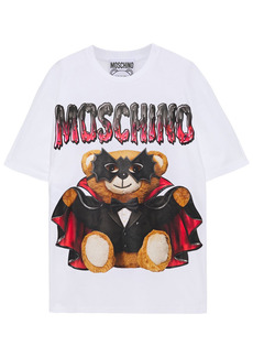 Moschino Woman Oversized Printed Cotton-jersey T-shirt White