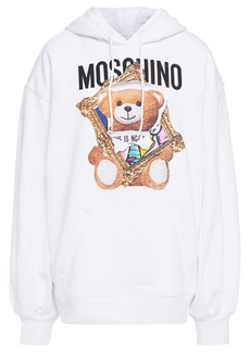 Moschino Woman Oversized Printed French Cotton-terry Hoodie White
