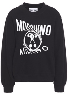 Moschino Woman Printed French Cotton-blend Terry Sweatshirt Black