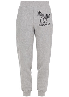Moschino Woman Printed French Cotton-blend Terry Track Pants Light Gray