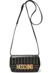Moschino Woman Studded Leather Shoulder Bag Black