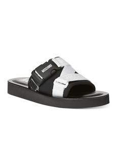 Moschino Women's Strap & Buckle Logo Slip On Sandals