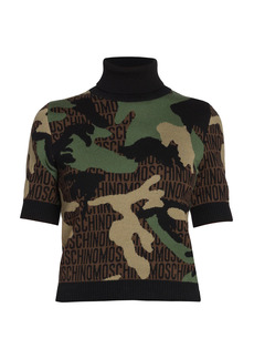Moschino Short-Sleeve Logo Camo Wool Knit Turtleneck Top