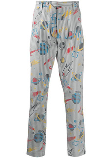 Moschino space-print stripe-detail trousers