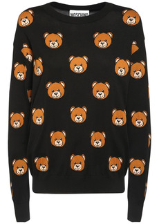 Moschino Teddy Bear Intarsia Cotton Knit Sweater