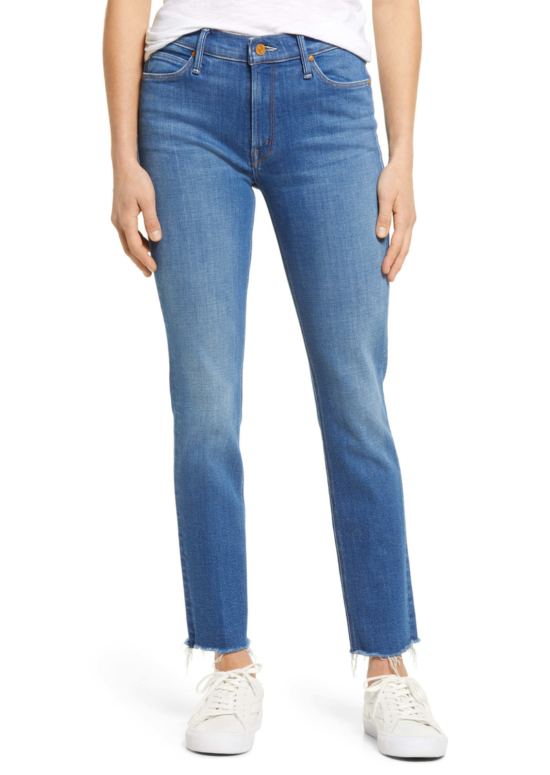 Mother Denim MOTHER The Dazzler High Waist Fray Ankle Straight Leg Jeans (Home To Me)