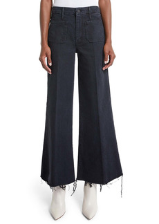 Mother Denim MOTHER The Patch Pocket Roller High Waist Fray Hem Wide Leg Ankle Jeans