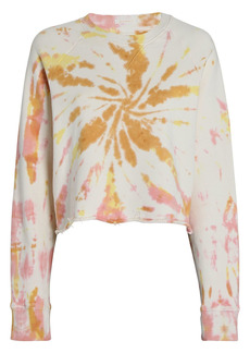 Mother Denim The Loafer Crop Fray Sweatshirt