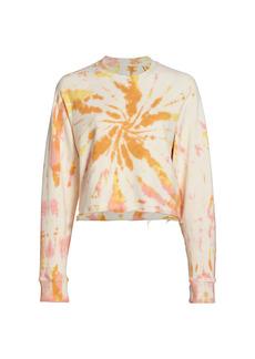 Mother Denim The Loafer Crop Fray Tie-Dye Sweatshirt