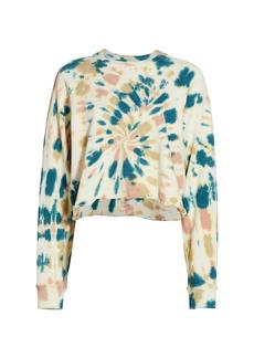 Mother Denim The Loafer Cropped Frayed Sweatshirt