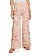 Mother Of Pearl Cora Printed Wide-Leg Pants w/ Lace Trim