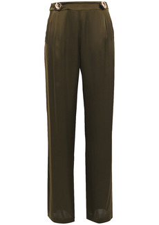 Mother Of Pearl Woman Bridget Satin Wide-leg Pants Army Green